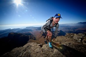 matthew slabbert on top of cathedral peak on Mandela Day at Cathedral Peak Hotel